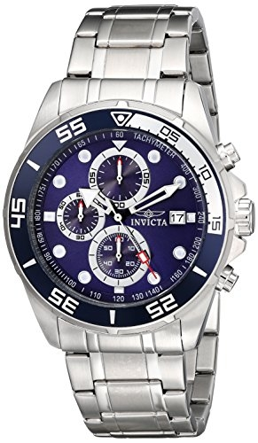 Invicta Specialty Chronograph Blue Dial Stainless Steel Mens Watch 17013 In Metallic