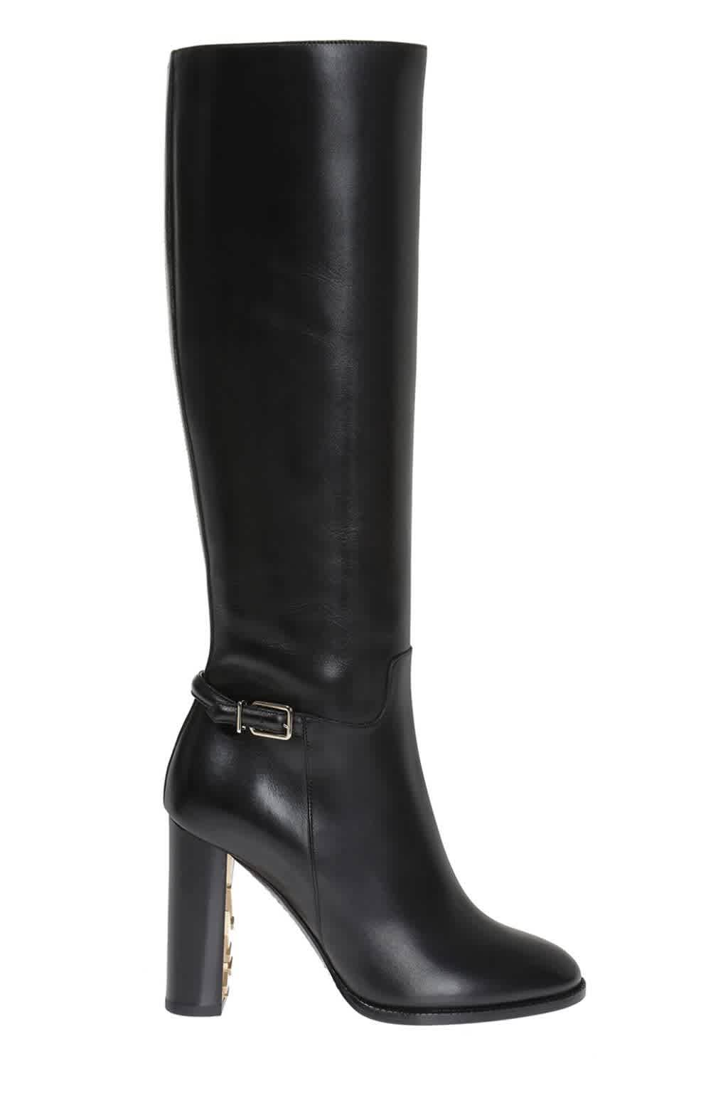 Burberry Ladies Marston Leather Knee-high Boots In Black,gold Tone