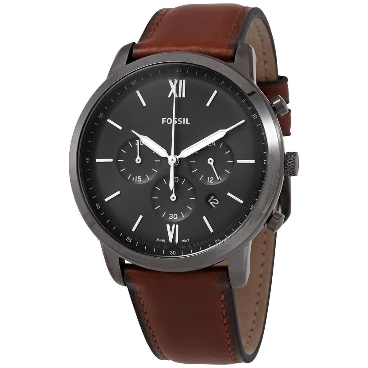Fossil Neutra Chronograph Quartz Black Dial Mens Watch Fs5512 In Black,gunmetal,orange,silver Tone