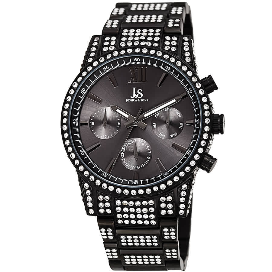 Joshua And Sons Crystal Black Dial Mens Watch Jx138bk