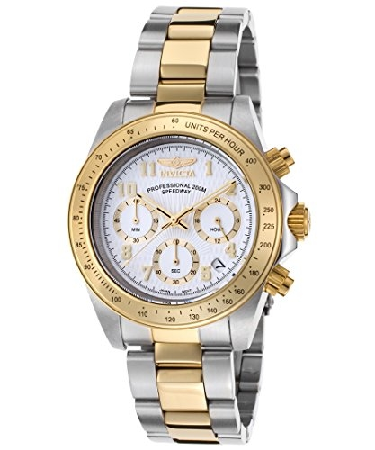 Invicta Speedway Chronograph White Dial Two-tone Mens Watch In Gold