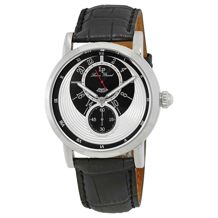 Lucien Piccard Santorini Dual Time Mens Watch 40043-02s In Black,silver Tone