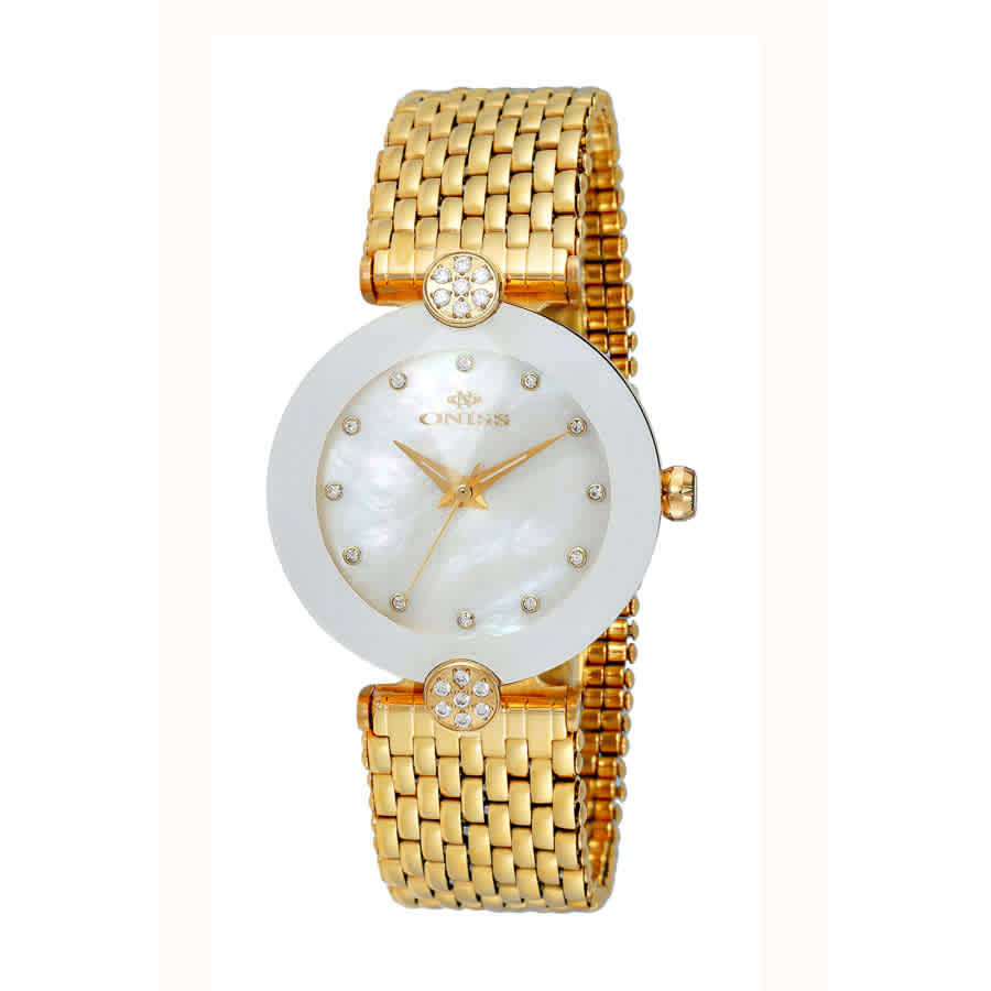 Oniss On8777mop White Dial Ladies Watch Onj8777-0lgwt In Gold Tone,white