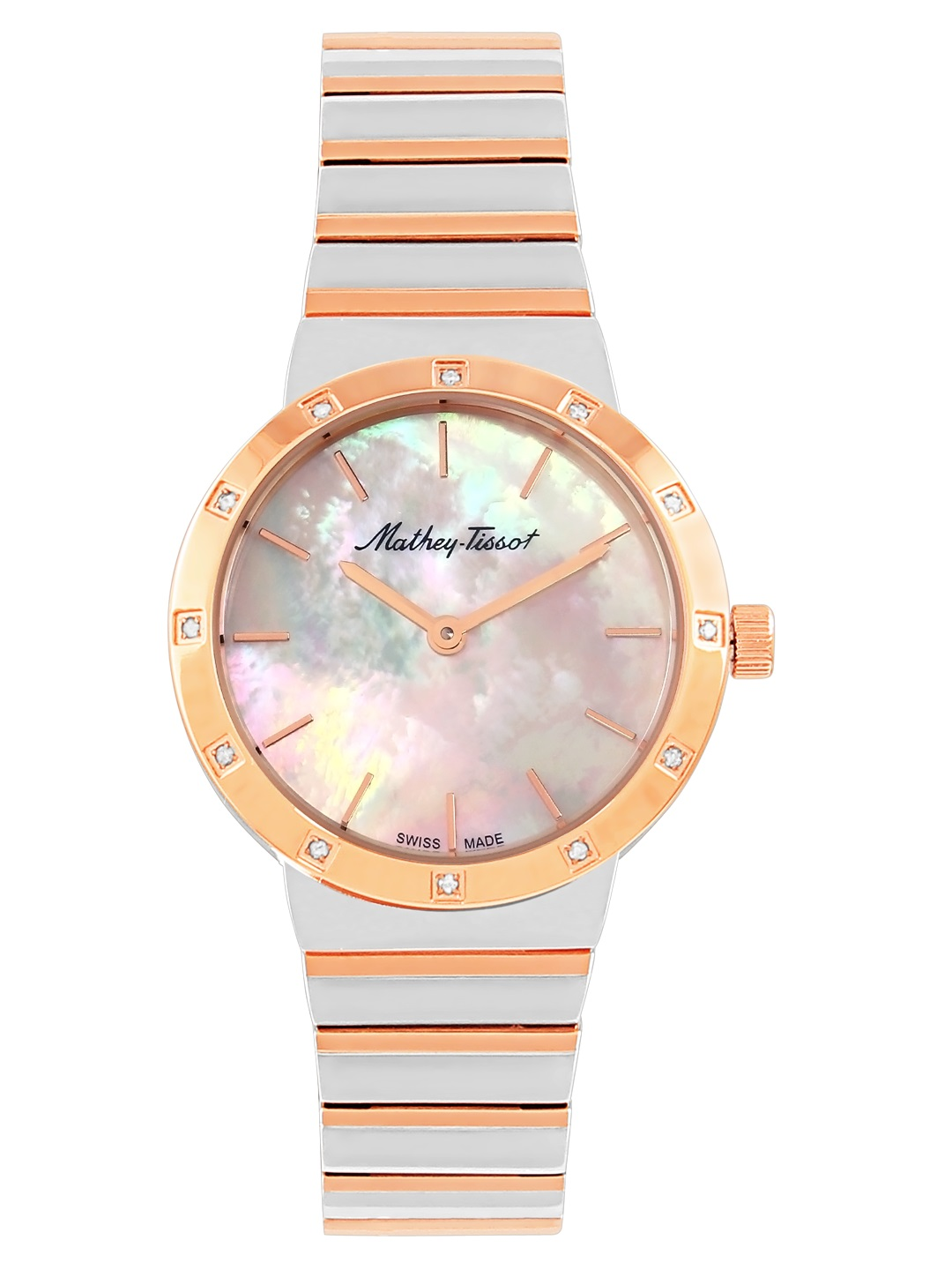 Mathey-tissot Athena Mother Of Pearl Dial Ladies Watch D593sbi In Gold Tone,mother Of Pearl,pink,rose Gold Tone,silver Tone,two Tone