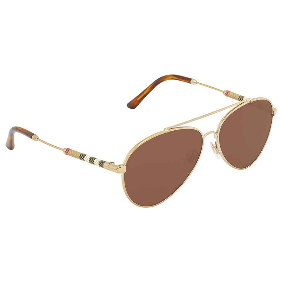 Burberry Brown Aviator Ladies Sunglasses Be3092q-114573-57 In Gold