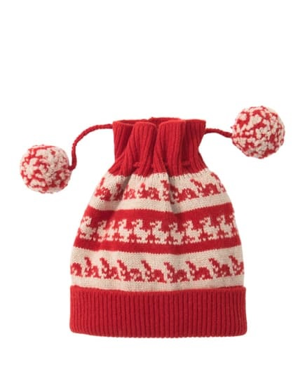 Burberry Drawstring Double Pompom Beanie In Red