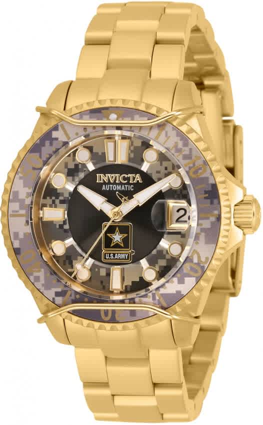 Invicta U.s. Army Automatic Camouflage Dial Ladies Watch 31857 In Gold