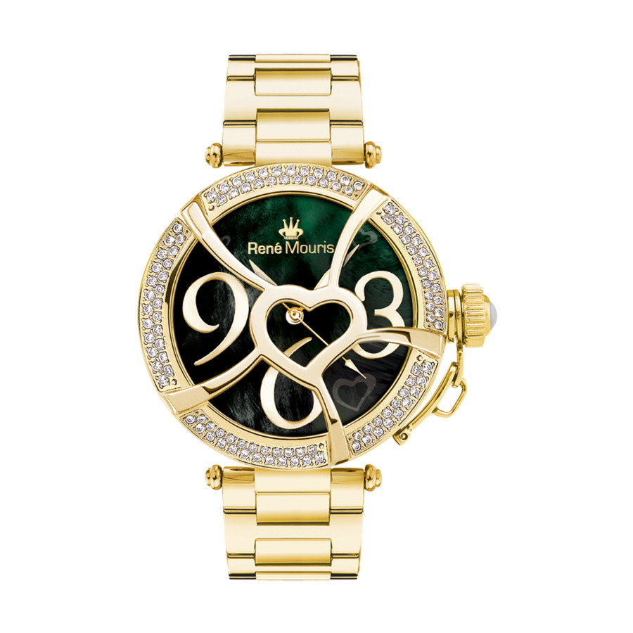 Rene Mouris Coeur D'amour Mother Of Pearl Dial Ladies Watch 50103rm5 In Black,gold Tone,mother Of Pearl,white,yellow