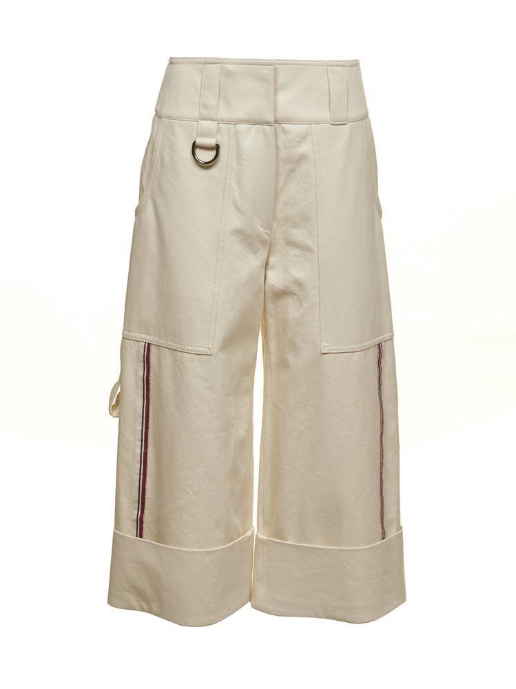 Burberry Turned Up Hem Wide Leg Trousers In Beige