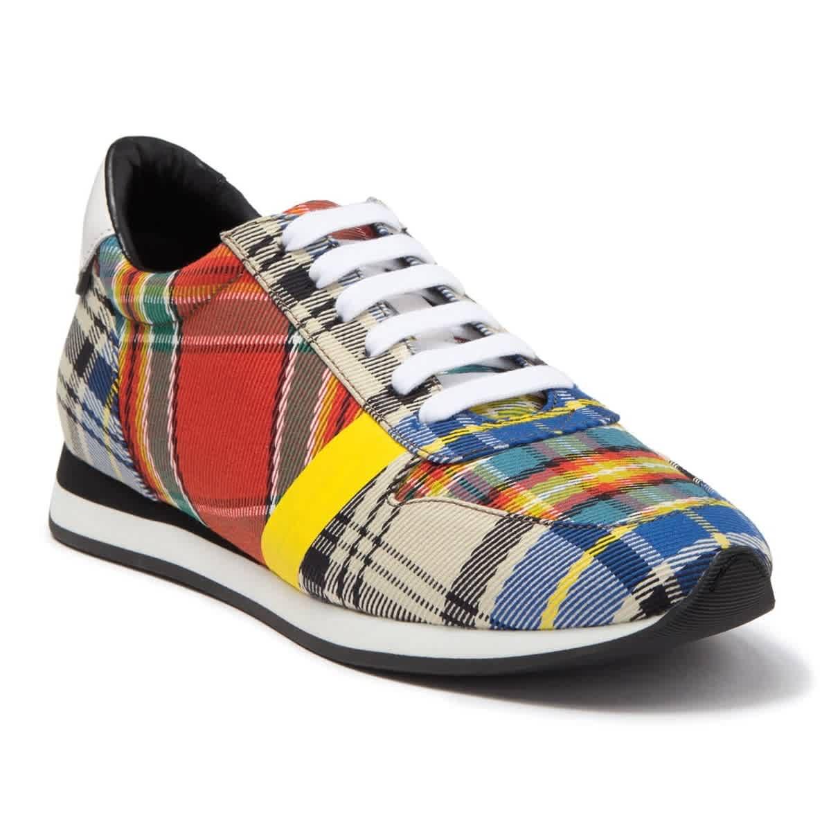 Burberry Amelia Chalk Mixed Tartan Sneaker In N,a