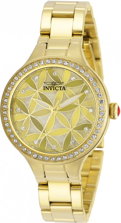 Invicta Wildflower Quartz Crystal Gold Dial Ladies Watch 30970 In Gold Tone,yellow