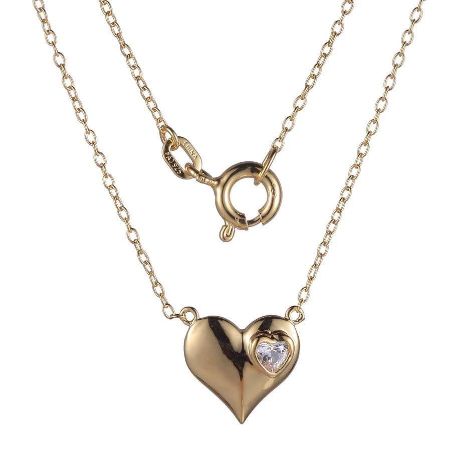 Ellie Byrd 18k Gold Plated Sterling Silver Created White Sapphire Heart Necklace