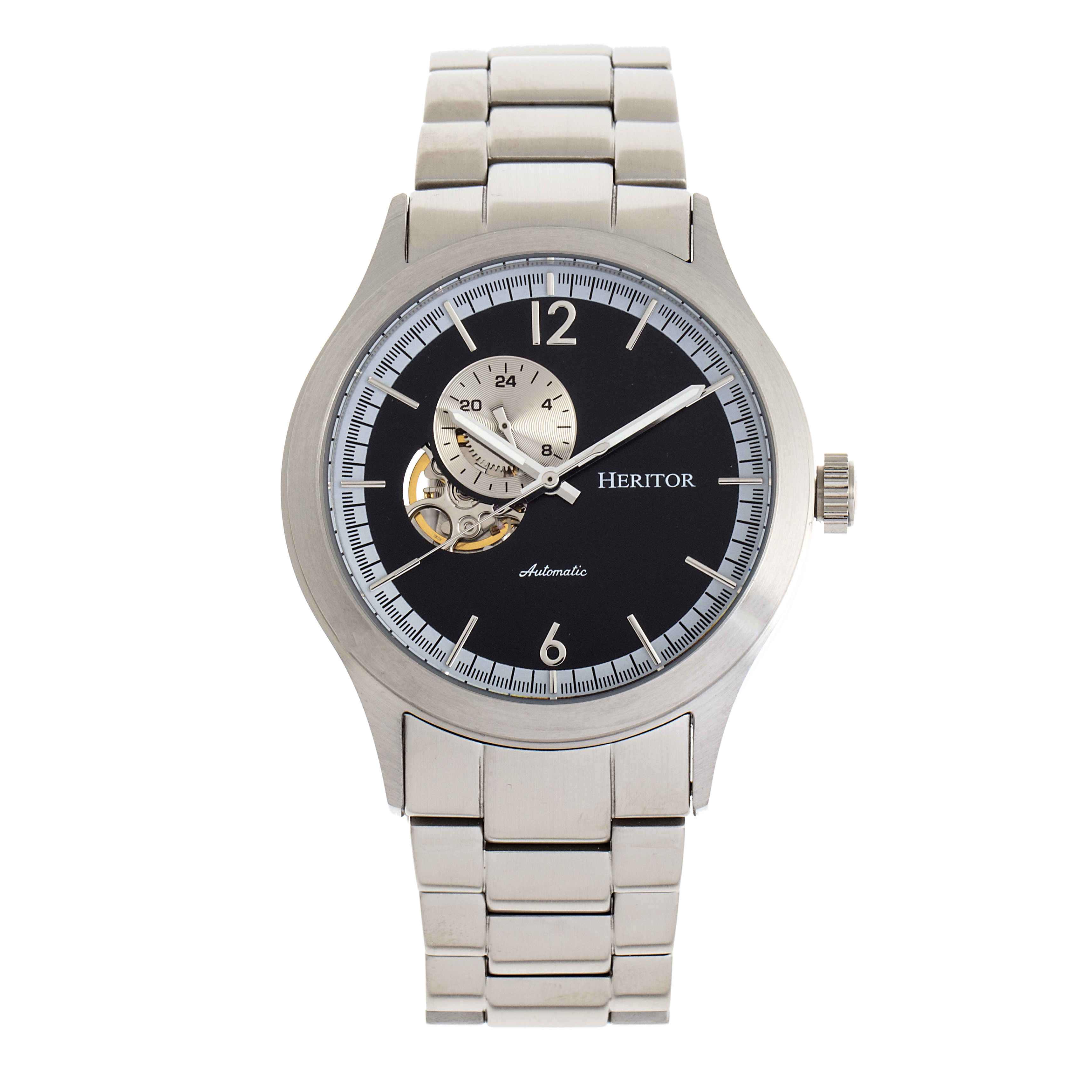 Heritor Antoine Automatic Black Dial Mens Watch Hr8502 In Black,silver Tone