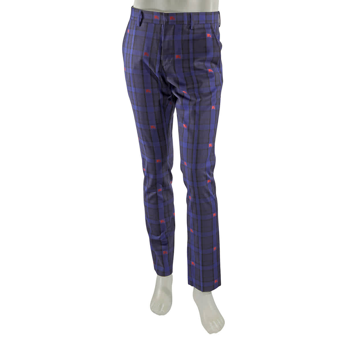 Burberry Checked Tailored Trousers In Purple