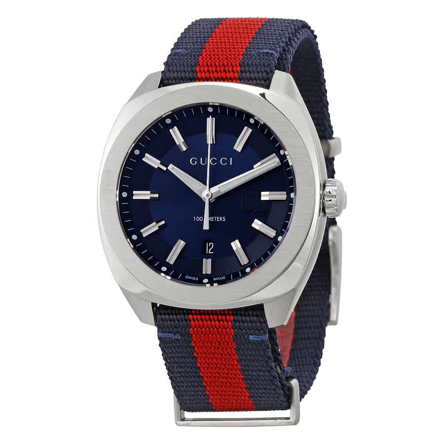 GUCCI GG2570 BLUE DIAL BLUE AND RED NYLON MENS WATCH YA142304
