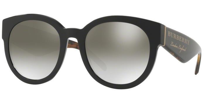 Burberry Gradient Grey Mirror Silver Round Ladies Sunglasses Be4260f-36836i-54 In Black,grey,silver Tone