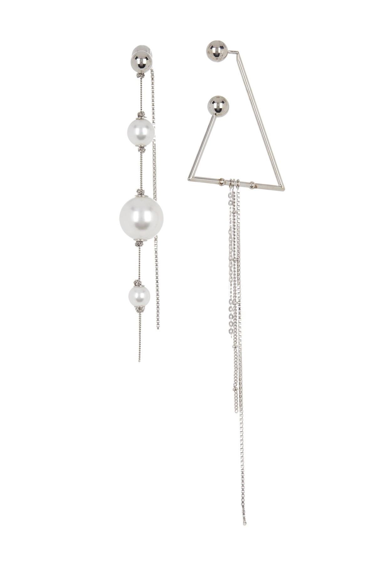 Burberry Asymmetrical Glass Pearl Chain Drop Earrings In White