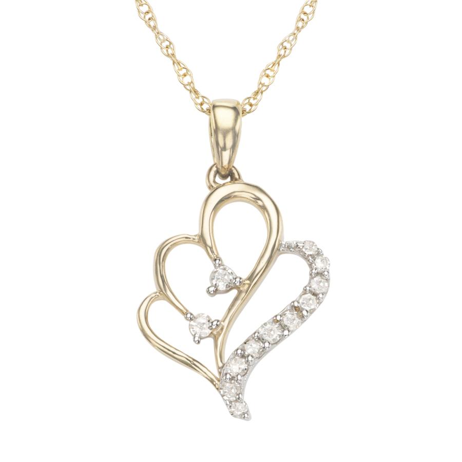 Hetal Diamonds 0.09cttw Diamond Heart Necklace In Yellow Gold