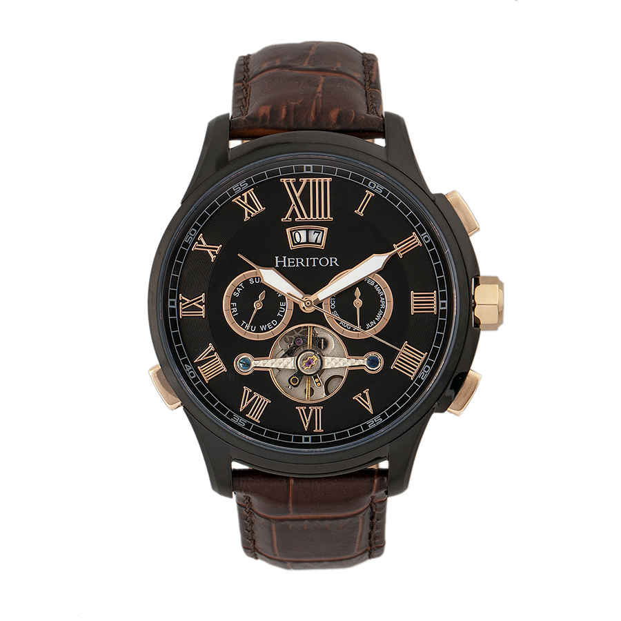 Heritor Hudson Automatic Black Dial Mens Watch Hr7506