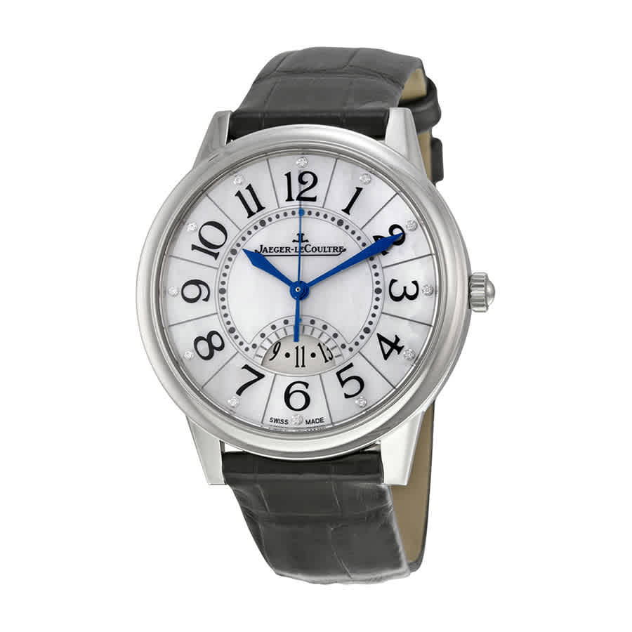 Jaeger-lecoultre Rendez-vous Date Mother Of Pearl Dial Black Leather Mens Watch Q3548490 In Gray