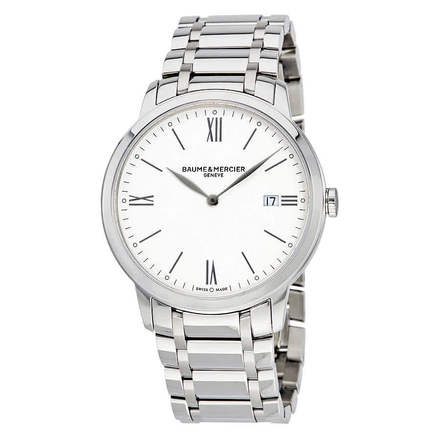 Baume Et Mercier Classima White Dial Mens Watch 10354 In Silver Tone,white
