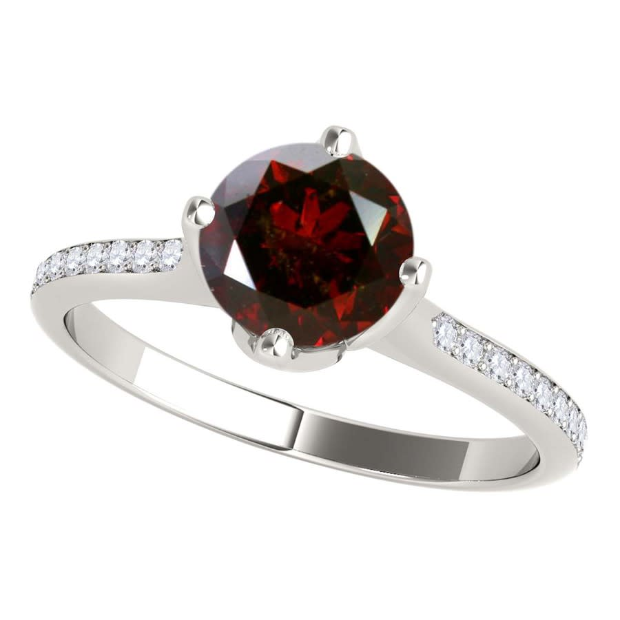 Maulijewels 1.15 Carat Natural Round Red Diamond Women Solitaire Engagement Ring In 14k Solid White Gold In Size In Gold Tone,red,white