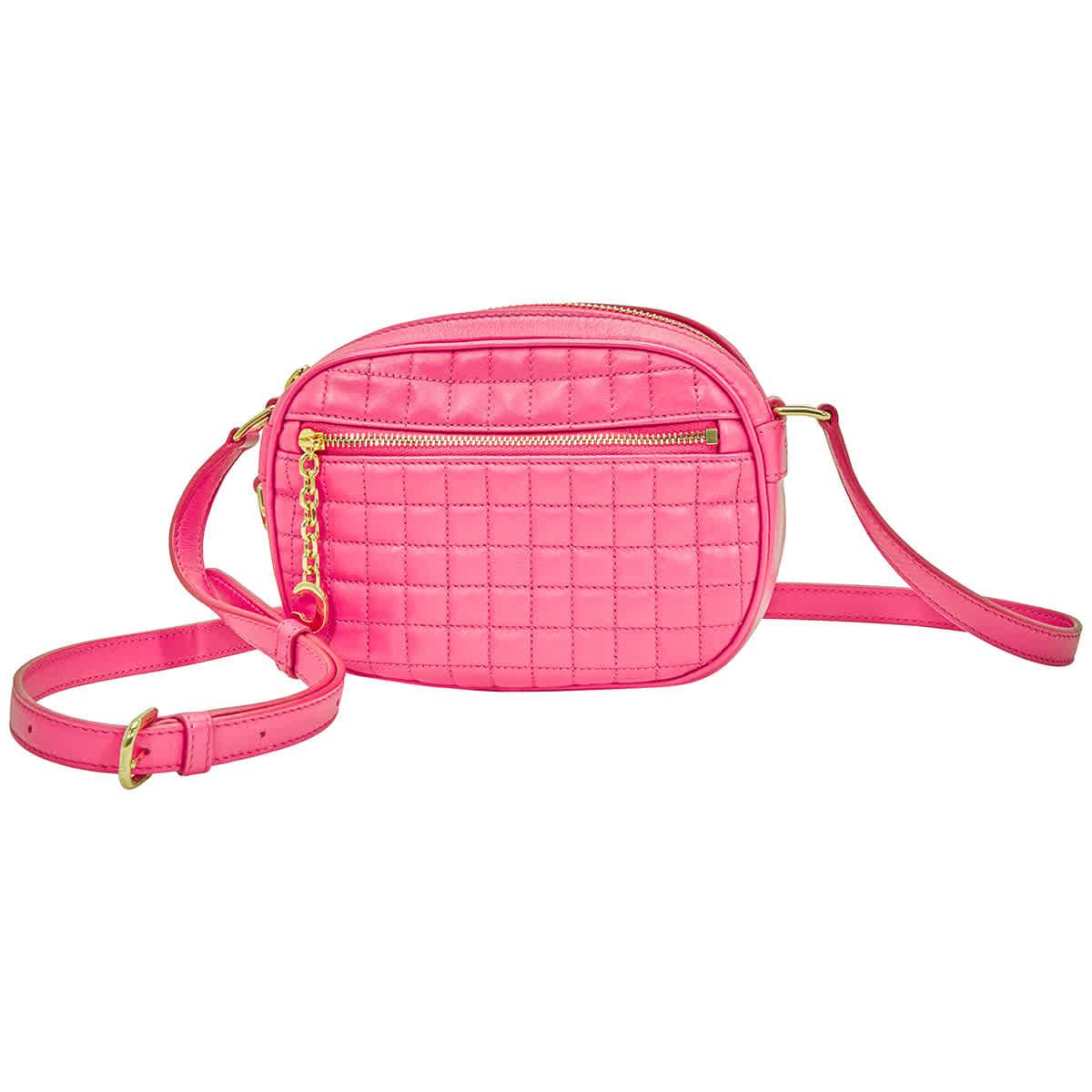 Celine Céline Women's Fuchsia Leather Shoulder Bag In Gold Tone,pink