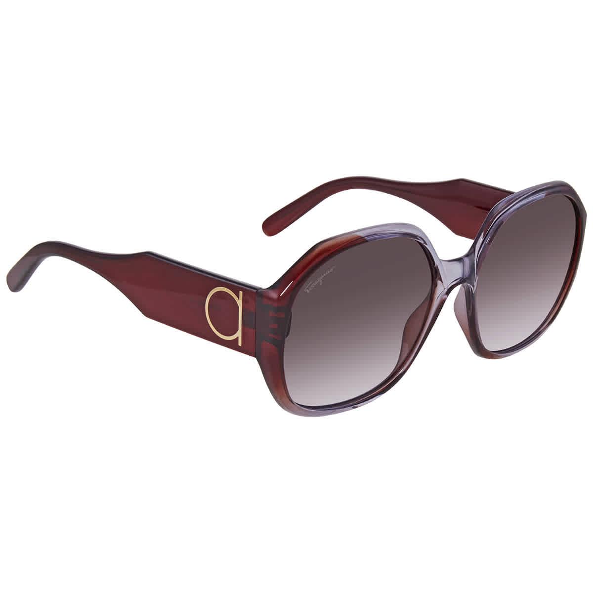 Salvatore Ferragamo Brown Gradient Round Sunglasses Sf943s 546 60