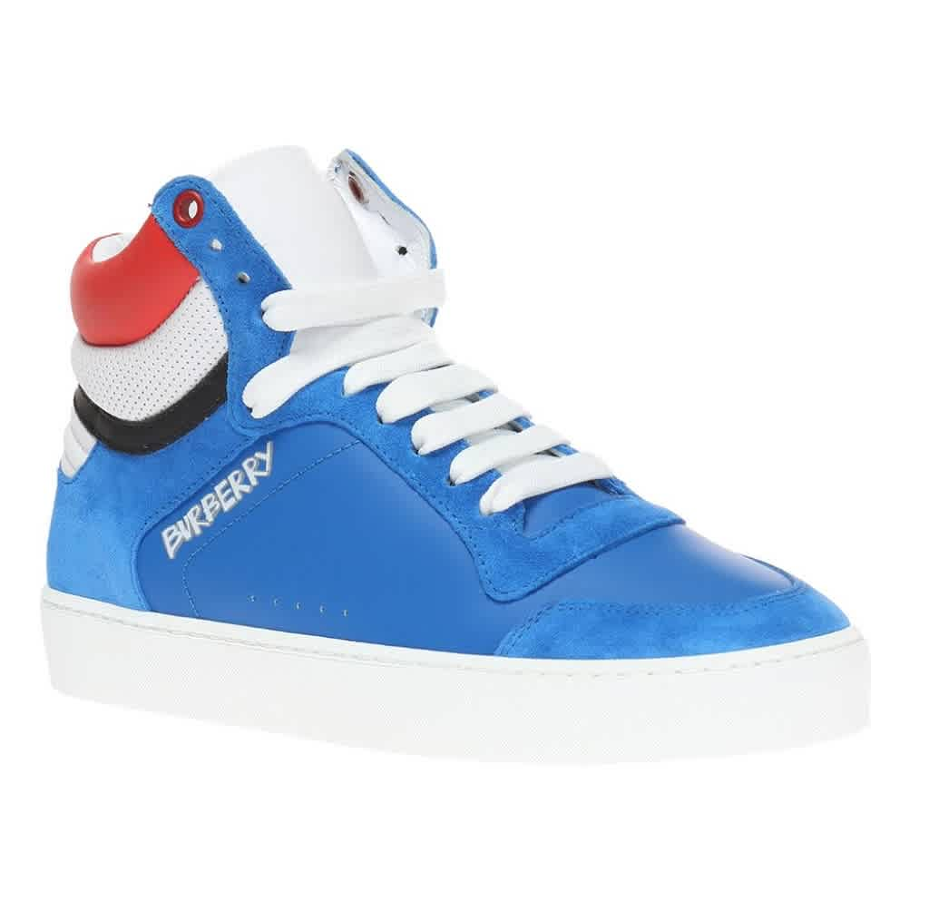 Burberry Reeth Blue Suede High-top Trainers