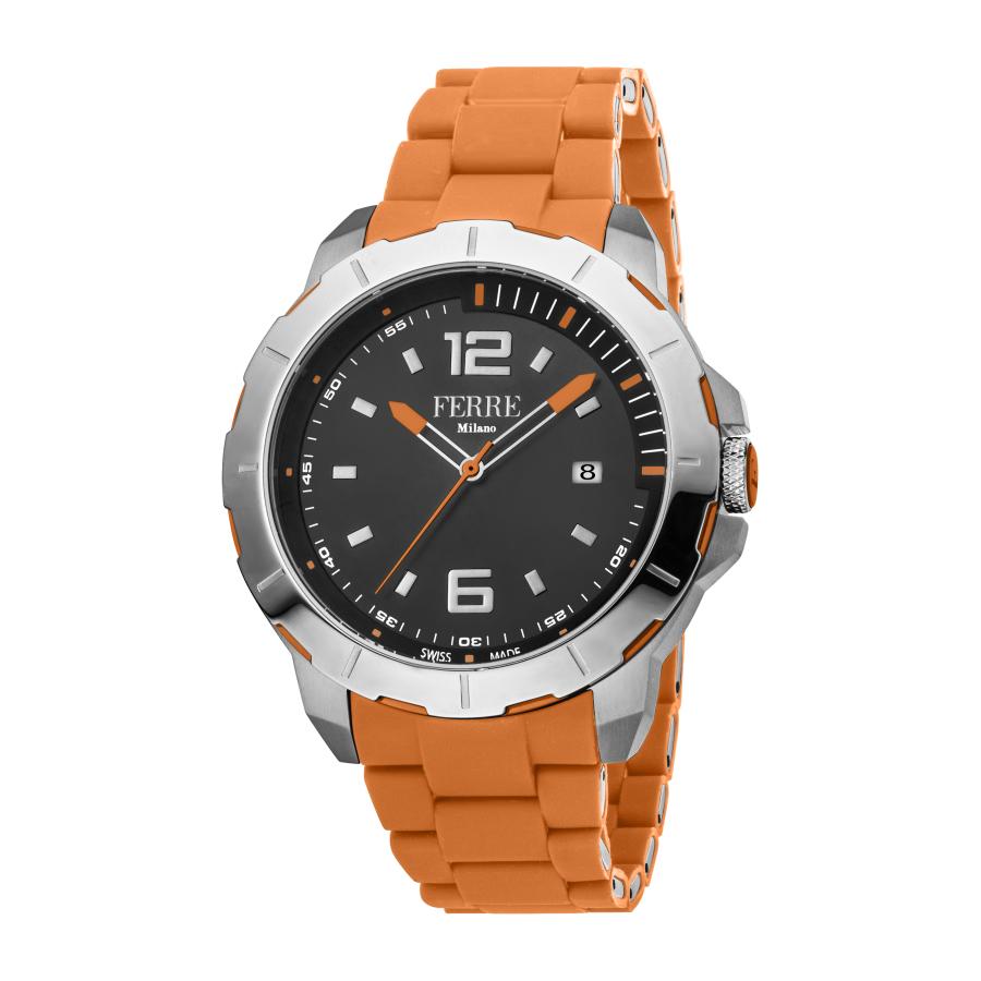 Ferre Milano Quartz Black Dial Mens Watch Fm1g107m0021 In Orange