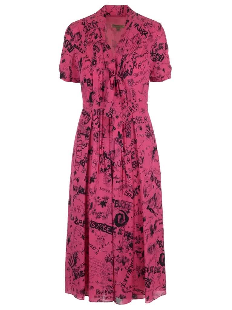 Burberry Antonina Silk Logo Neck Tie Dress In Fluro Pink