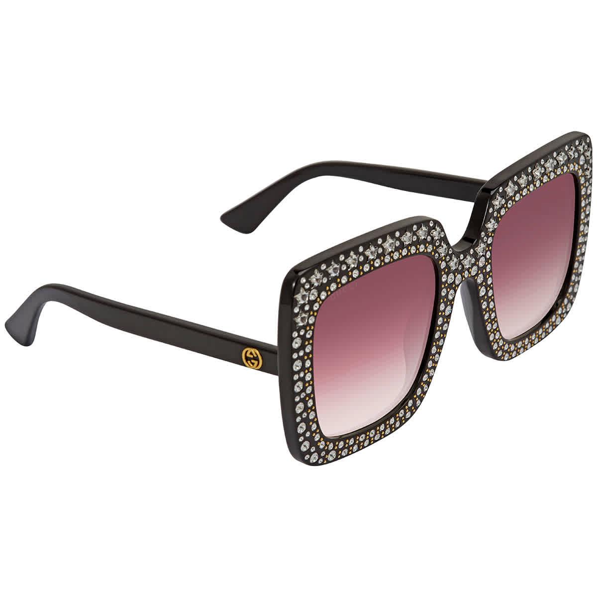 Gucci Red Gradient Square Sunglasses Gg0148s 005 53 In Black,red