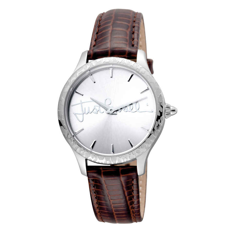 Just Cavalli Fashion Silver Dial Brown Leather Ladies Watch Jc1l023l0015