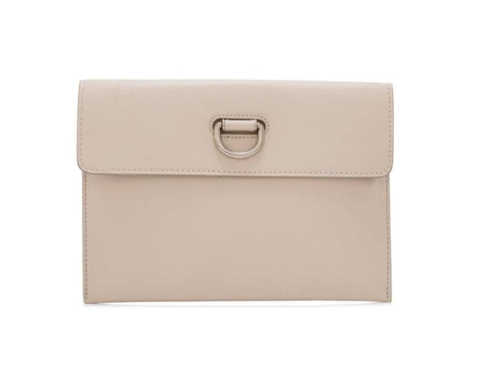 Burberry Stone Ladies D-ring Leather Pouch With Zip Coin Case In Two Tone