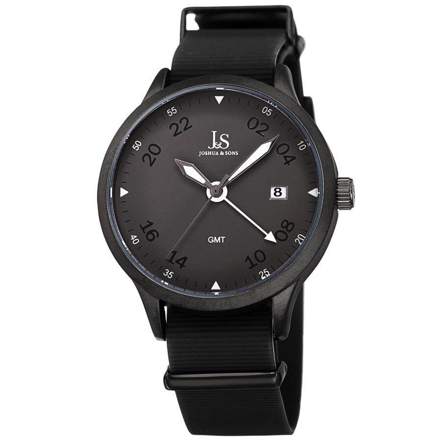 Joshua And Sons Quartz Gmt Grey Dial Mens Watch Jx147bk In Black