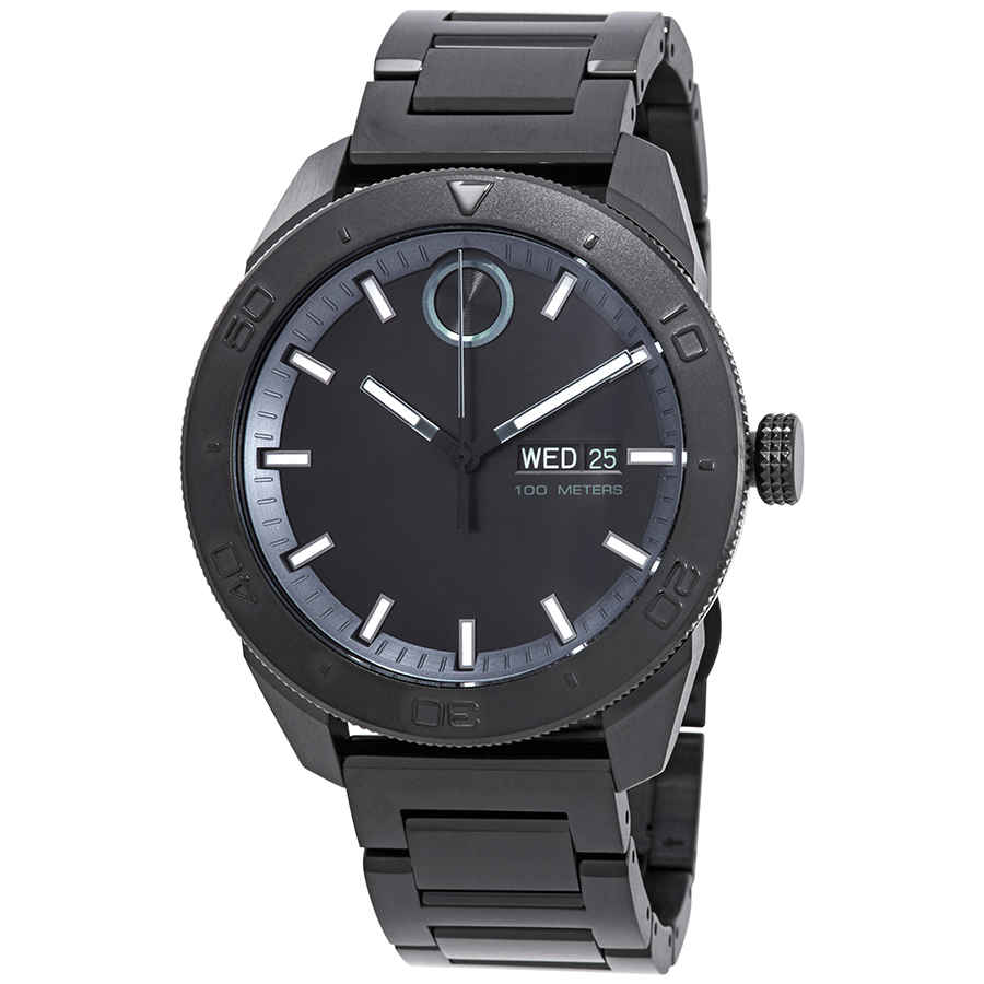 MOVADO BOLD BLACK DIAL MENS STAINLESS STEEL WATCH 3600512