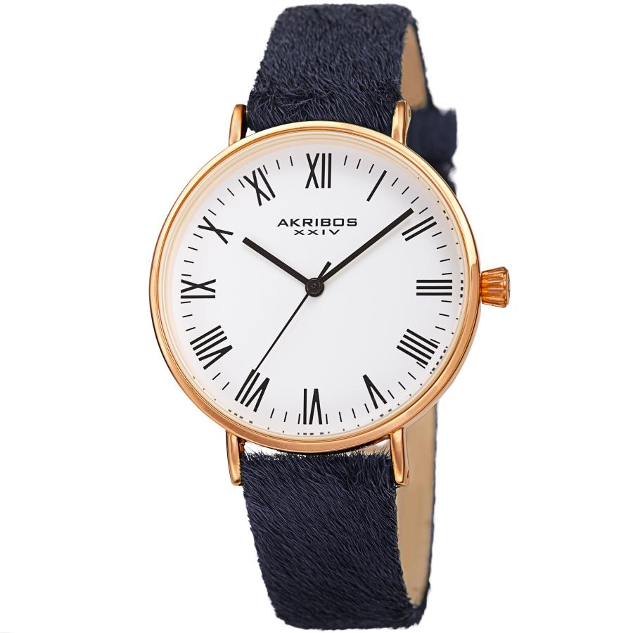 Akribos Xxiv Quartz White Dial Ladies Watch Ak1081bk In Black,gold Tone,purple,white