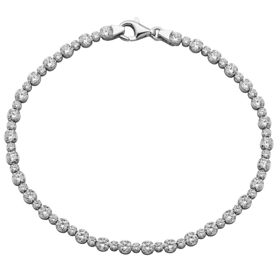 Morgan & Paige Rhodium Plated Sterling Silver Cubic Zirconia Tennis Bracelet In White