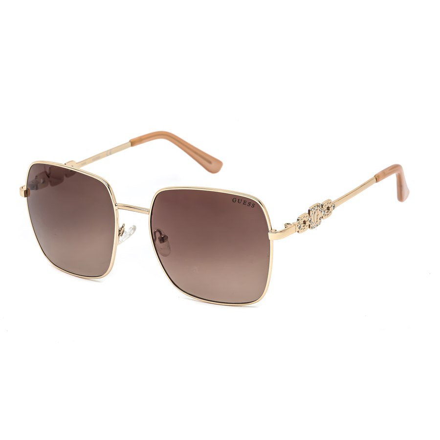 Guess Ladies Gold Tone Square Sunglasses Gf6115 32f 57 In Brown,gold Tone