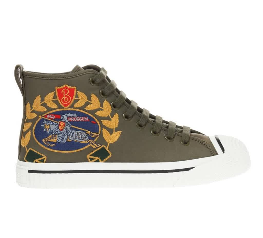 Burberry Ladies Embroidered Archive Logo High-top Sneakers In Green