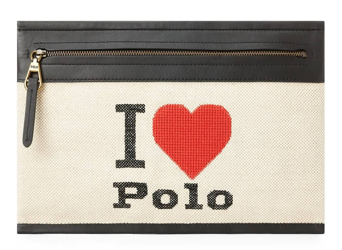Polo Ralph Lauren Leather-trimmed Canvas Zip Pouch In Beige