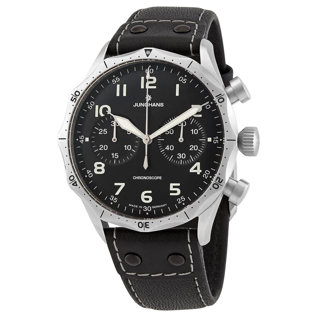 Junghans Meister Pilot Chronograph Automatic Black Dial Mens Watch 027/3590.00 In Black,silver Tone