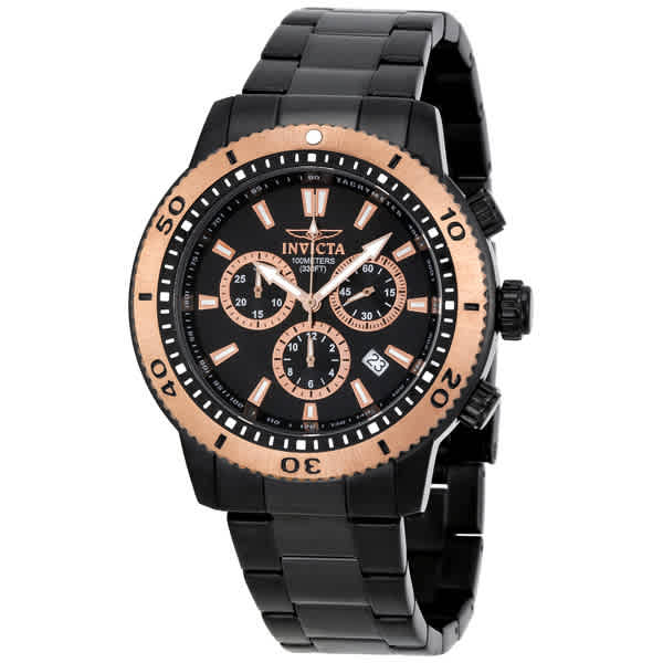 Invicta Ii Collection Chronograph Black Ion-plated Stainless Steel Mens Watch 1206