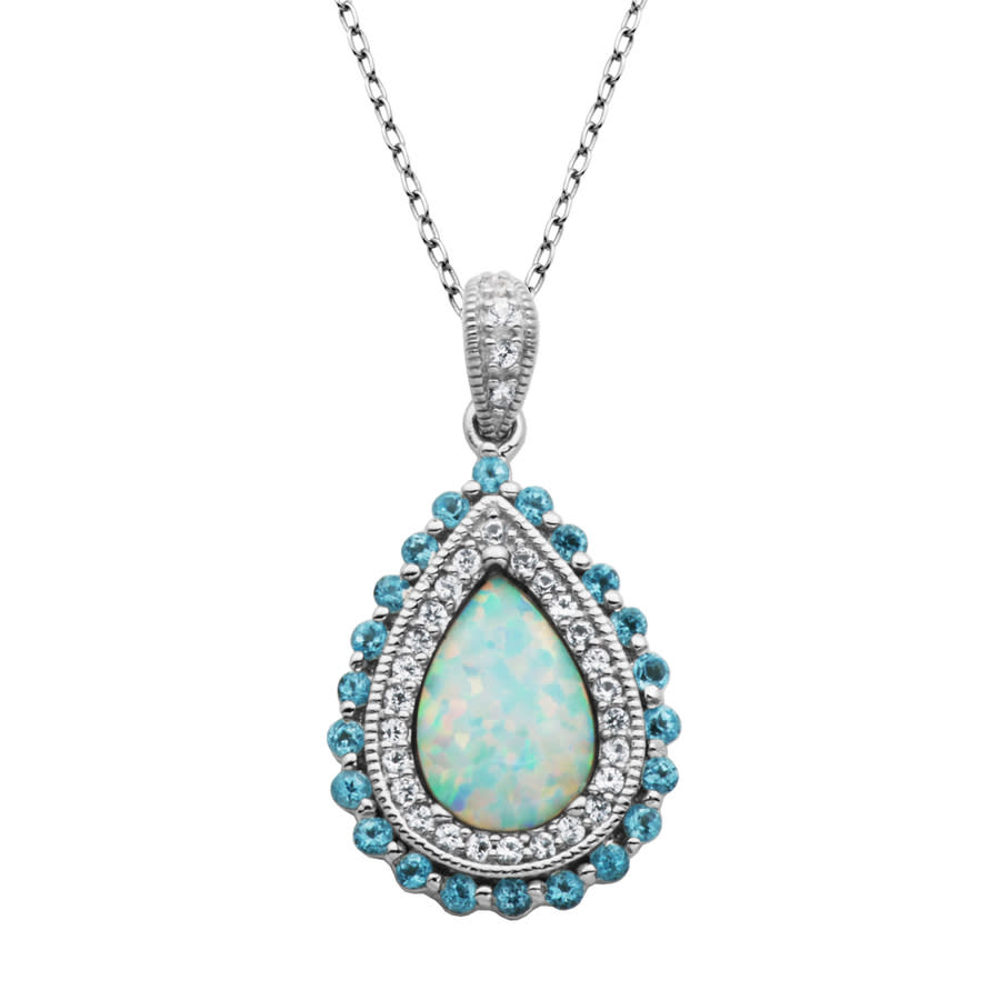 925 Couture Sterling Silver Created Opal In Blue