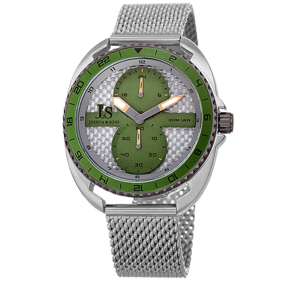 Joshua And Sons Military Time Mens Watch Jx136ssgn In Green