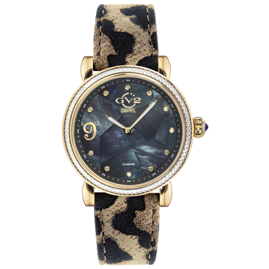Gv2 By Gevril Ravenna Diamond Black Mother Of Pearl Dial Ladies Watch 12605