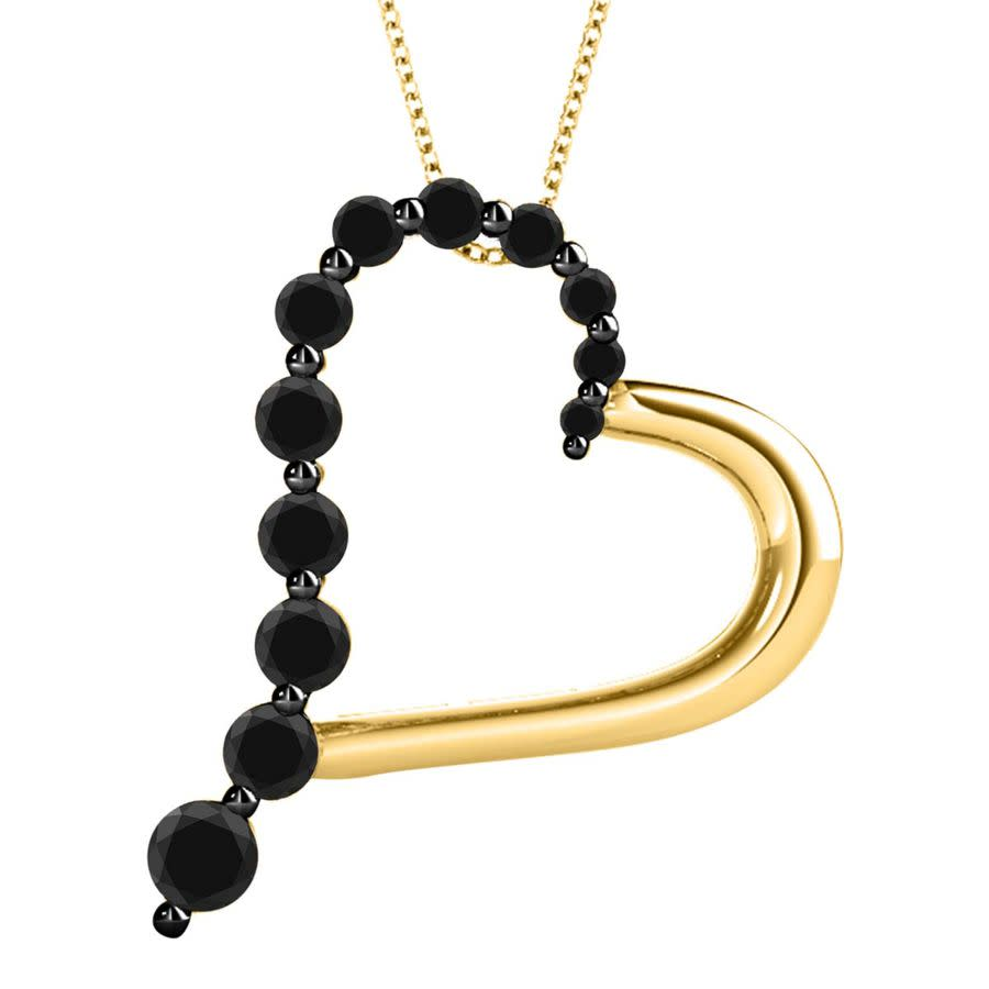 Maulijewels 1.50 Carat Natural Black Diamond Heart Pendant For Woman In 14k Rose White & Yellow Gold With 18'' S In Black,gold Tone,pink,rose Gold Tone,silver Tone,white,yellow