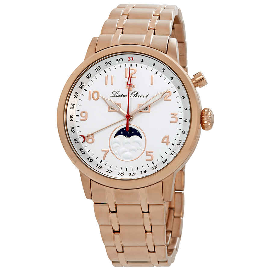Lucien Piccard Complete Calendar White Dial Mens Watch 40016-rg-22s In Gold Tone,pink,rose Gold Tone,white