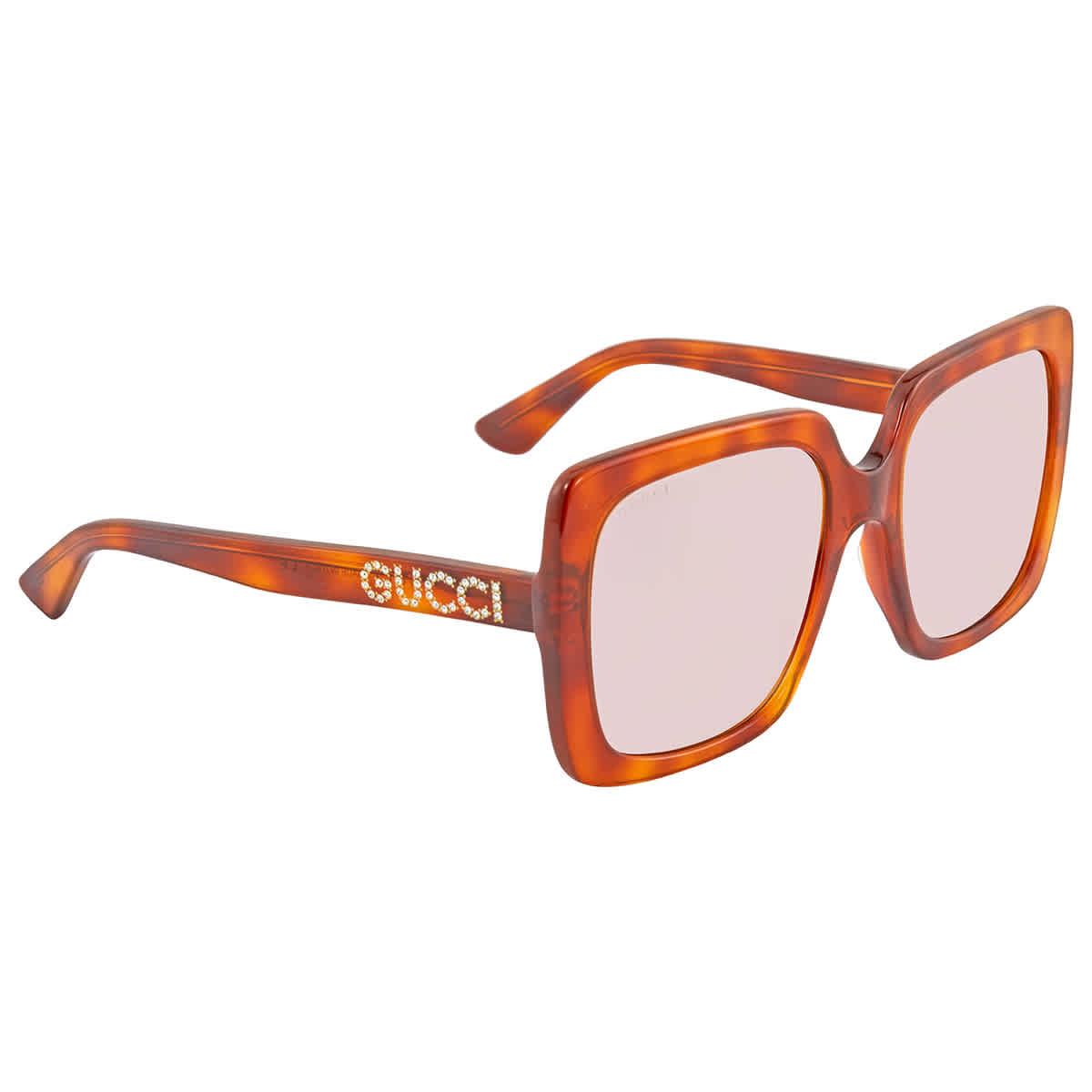 Gucci Light Brown Square Sunglasses Gg0418s 005 54