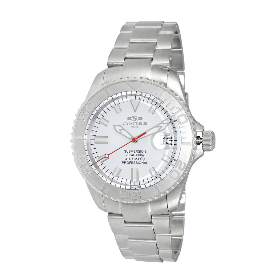 Oniss Automatic White Dial Mens Watch On5515-33-wt In Metallic